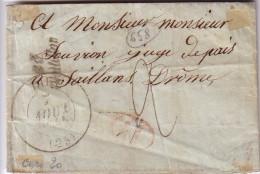 DROME - DIE - T13 DU 7-8-1844 - CURSIVE 25 CHATILLON - DECIME ROUGE - TAXE 2 MANUSCRITE POUR SAILLANS DROME - AVEC TEXT - Marcophilie (Lettres)