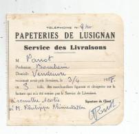 G-I-E , Bon De Livraison , Papeteries De LUZIGNAN , Vienne , 1938 - Facturas & Documentos Mercantiles