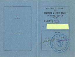 CARTE -ASSOCIATION GENERALE DES CANDIDATS A L'ECOLE NAVALE ET A L'ECOLE DE L'AIR 1940.41 - Documents