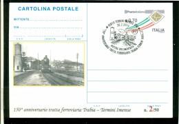 TRENI-STAZIONI-TERMINI IMERESEFERROVIA TRABIA-TERMINI IMERESE - CARTOLINA INTERO POSTALE SOPRASTAMPA PRIVATA -MARCOFILIA - 6. 1946-.. Repubblica