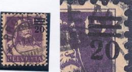 Schweiz Tellbrust 1921 Z#150B Abart Stark Verschobener Aufdruck - Suisse