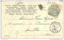 """Rare Cachet Perlé Boitier """"Villeneuve Sur Vere Tarn 1905"""" Blanc Frappe Superbe Indice Pothion=8 Cp état Médiocre - Marcophilie (Lettres)"""