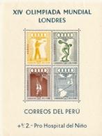 Peru,  Scott 16 # C81a,  Issued 1948,  S/S Of 4,  MLH,  Cat $ 50.00,  48 Olympics - Peru