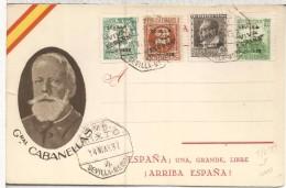 TARJETA PATRIOTICA GENERAL CABANELLAS CON SELLOS SEVILLA SOBRECARGA VIA ESPAÑA MAT AMBULANTE MIXTO 4 SEVILLA MERIDA - 1931-Aujourd'hui: II. République - ....Juan Carlos I