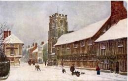 SAMON ART - QUATREMAIN 580 - STRATFORD - GUILD CHAPEL AND SHAKESPEARE'S SCHOOL (Snow) - Stratford Upon Avon