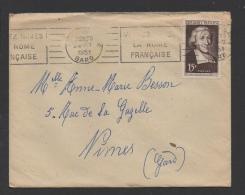 DF / FRANCE SUR LETTRE / TP 882 SAINT JEAN-BAPTISTE DE LA SALLE / OBL. NIMES-GARE 24 -7 1951 GARE + FLAMME - Cartas
