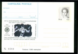 INTERO POSTALE-INTERI POSTALI I.P.Z.S.-C.P. IPZS- LECCE- LIONS -LYONS -50° DICHIARAZIONE DIRITTI DELL'UOMO - 1946-.. Republiek