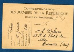 France - Carte En Franchise Pour Beauvais En 1939  Voir 2 Scans  Réf.1056 - Marcophilie (Lettres)