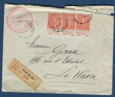 France - Type Semeuse En Bande De 3 Avec Pub Sur Enveloppe En Recommandée De Paris En 1928  Voir 2 Scans  Réf.1064 - Publicités