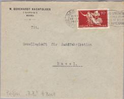"""Schweiz Tellbrust 1919-12-23 Basel Perfin Brief """"B.B."""" #B004 Borchardt Basel - Lettres & Documents"""