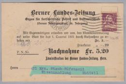"Schweiz Tellbrust 1921-01-21 Bern 1 Perfin Beleg ""WV"" #W015 - Switzerland"