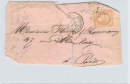 Juillet 1870 - N°28 Oblit Etoile Paris 1, Cad Paris Place De La Bourse, Napoléon III Laurée 10c - Marcophilie (Lettres)
