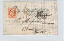 Octobre 1862 - N°16 Oblit. Losange PC 389 Beziers, Cad Type 15 Beziers Pour Aurillac, Napoléon III 40c, Après Le Départ - 1849-1876: Classic Period