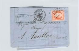 Septembre 1859 - N°16 Oblit. Losange, Cad Limoges Pour Aurillac, Napoléon III 40c, Ambulant E. Lamy Limoges - Marcophilie (Lettres)