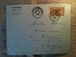 1932 - Madagascar Tananarive Pour St-Girons Ariège, Entête J. Domec Avocat Docteur En Droit Tananarive - Madagascar (1889-1960)