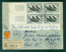 N°1093 J Du T 1957 En Bloc De 4 Sur LR Oblitéré GF J Du T. Arrivée Paris 2 Cachets Différents - Francia