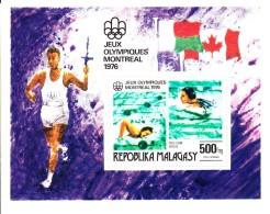 Madagascar MNH Scott #C156 Souvenir Sheet 500fr Swimming - 1976 Summer Olympics Montreal - Madagascar (1960-...)