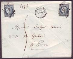 SEINE & MARNE - LSC - Tàd T15 Guines Rabutin + PC 1471 Sur 2 X N° 4 (25c Bleu Cérès) + Taxe 5 (3ème éch) Pour Paris - 1849-1850 Cérès