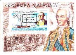 Madagascar MNH Scott #C167 Souvenir Sheet Date Overprint On 500fr George Washington, ´Hanna´ - American Bicentennial - Madagascar (1960-...)