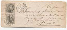491/24 - Lettre Paire Verticale TP Médaillon 10 C Touchés - TB Cachet Barres 95 PERWEZ 1860 Vers BXL - - 1858-1862 Médaillons (9/12)