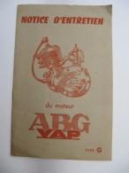 Moteur ABG VAP - Notice D'Entretien - 14 Pages + Hors Texte - Moto