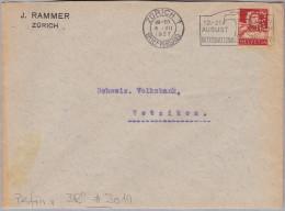 """Schweiz Tellbrust 1927-07-04 Zürich1 Perfin-Brief """"JR"""" #J019 J. Rammer Zürich - Suisse"""