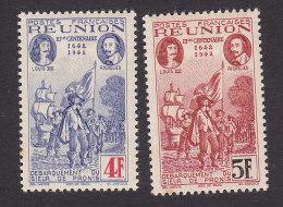 Reunion, Scott #177E, 177F, Mint Hinged, De Pronis Landing On Reunion, Issued 1943 - Reunion Island (1852-1975)