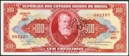 BRAZIL CZ26 -  100 CRUZEIROS  C/ CARIMBO DE CRUZEIRO NOVO ( 10 CENTAVOS)   - 1966~1967  ( EF ) - Brazil