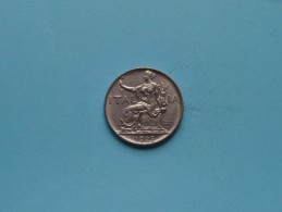 1923 R - 1 Lire / KM 62 ( Uncleaned Coin / For Grade, Please See Photo / Scans ) !! - 1861-1946 : Royaume