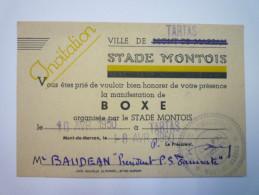 Carton D'INVITATION à Une Manifestation De  BOXE  à  TARTAS  1950    - Boksen