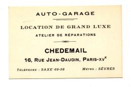 Carte De Visite Auto-garage Location De Grand Luxe Chedemail Paris-XVe - Visiting Cards