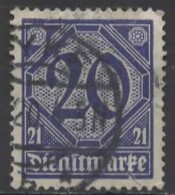 GERMANY 1920 Official - Numeral - 20pf. - Blue  FU - Dienstpost