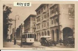 Sardegna-cagliari Via Roma Veduta Tram Auto D'epoca Carretto Animatissima Anni/20 - Cagliari