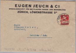"""Schweiz Tellbrust 1930-04-24 Zürich 2 Perfin Brief """"E.J."""" E014 Eugen Jeuch Seltenes Perfin - Suisse"""