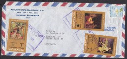 Nicaragua: Airmail Cover To Germany, 1972, 4 Stamps, Religious Paintings, 10 Commandments, Bible (damaged!) - Nicaragua