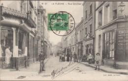 72-LA FLECHE-Rue Grollier  1908  Animé  BOUCHERIE... - La Fleche