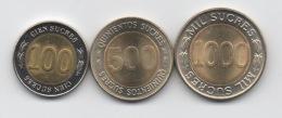 Equateur : Lot De 3 Pièces BIMETAL : 100-500-1000 Sucres 1997 UNC - Ecuador