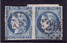 France 1871 - N° 42Ba (42 Ba) Paire Cérès 20c Bleu Foncé - Type III - Report 2 - 1870 Bordeaux Printing