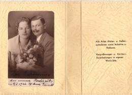 Pochette 2 Volets Avec Photo De Mariage - Mariés - Foto Buckl - Wien, XXIII., Schwechat, Wienerstrabe 17- 1926 - Anonyme Personen