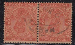 Inverted Multi Star, (Large Die) 2as Pair ´Postage´ Two Annas Used, British India 1932 - 1911-35 King George V