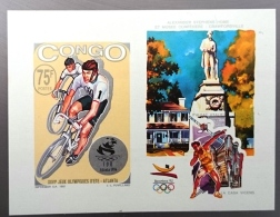 CONGO Cyclisme, Velo, Bicyclette. , J.O. ATLANTA, Bloc De Luxe Du N° Yvert 988. Non Dentelé. IMPERFORATE ** MNH - Wielrennen