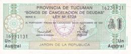 BILLETE DE ARGENTINA DE TUCUMAN DE 1 AUSTRAL DEL AÑO 1991(BANK NOTE) SIN CIRCULAR-UNCIRCULATED - Argentina