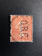 FRANCE O N°199 Semeuse O.B.C. 8 Indice 2 Perforé Perforés Perfins Perfin ! Superbe - France
