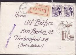 Poland EXPRÉS Label BYDGOSZCZ 1980 Cover Brief BERLIN Germany NACHSENDUNG NICHT BEANTRAGT Helicopter Hubschreiber - Briefe U. Dokumente