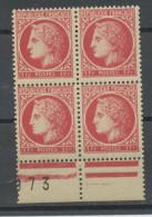 FRANCE -  MARIANNE DE MAZELIN - N° Yvert 676** BLOC DE 4 BAS DE FEUILLE - 1945-47 Cérès De Mazelin