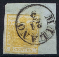 Osterreich Lombardei Venetien 1850 Nr 1 X Fragment Zitronengelb  Lombardo Veneto Horizontal Fold CC Milano - Gebraucht