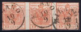 Osterreich Lombardei Venetien 1850 Nr 3 X  Used  3-Strip Lombardo Veneto - 1850-1918 Imperium