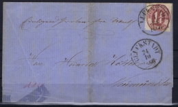 Schleswig 1866 Wrapper To Neumunster From Gluckstadt On Back: SCHLESW. POST SPED. BUR./ZUG 2 Travelling Post Office - Schleswig-Holstein