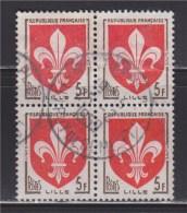 = Armoiries Ville De Lille (série III) De 1958 5f Brun-noir Et Rouge Bloc De 4 Oblitérés N°1186 - Usados