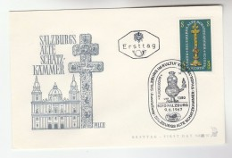 1967 AUSTRIA FDC  SALZBURG  TREASURE, OLD CROSS  Stamps SPECIAL Pmk  Cover Religion Christianity - Christianity